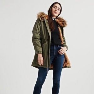 NWT Lucky Brand Faux Fur Hooded Parka Over Coat